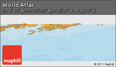"""Political Panoramic Map of the Area around 51°19'36""""N,9°16'30""""W"""
