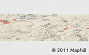 Shaded Relief Panoramic Map of Ulan-Ude