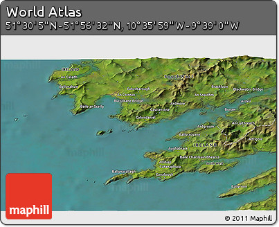 """Satellite 3D Map of the Area around 51°43'18""""N,10°7'30""""W"""