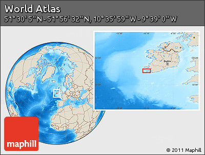 """Shaded Relief Location Map of the Area around 51°43'18""""N,10°7'30""""W"""