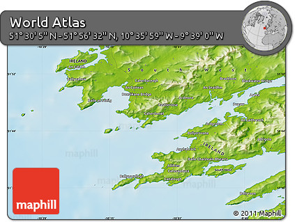 """Physical Map of the Area around 51°43'18""""N,10°7'30""""W"""