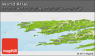 """Physical Panoramic Map of the Area around 51°43'18""""N,10°7'30""""W"""