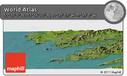 "Satellite Panoramic Map of the Area around 51°43'18""N,10°7'30""W"
