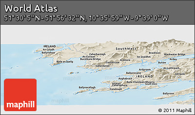 """Shaded Relief Panoramic Map of the Area around 51°43'18""""N,10°7'30""""W"""