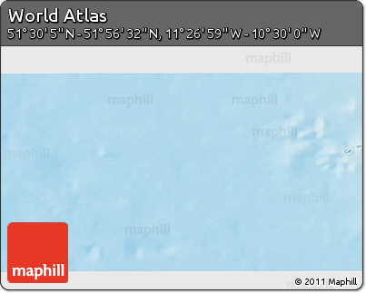 """Shaded Relief 3D Map of the Area around 51°43'18""""N,10°58'29""""W"""