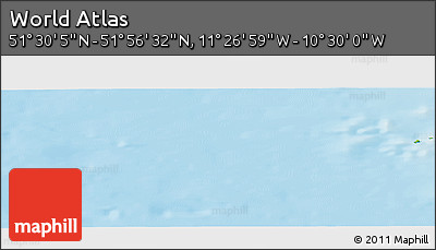 """Physical Panoramic Map of the Area around 51°43'18""""N,10°58'29""""W"""