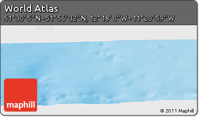 """Shaded Relief Panoramic Map of the Area around 51°43'18""""N,11°49'29""""W"""