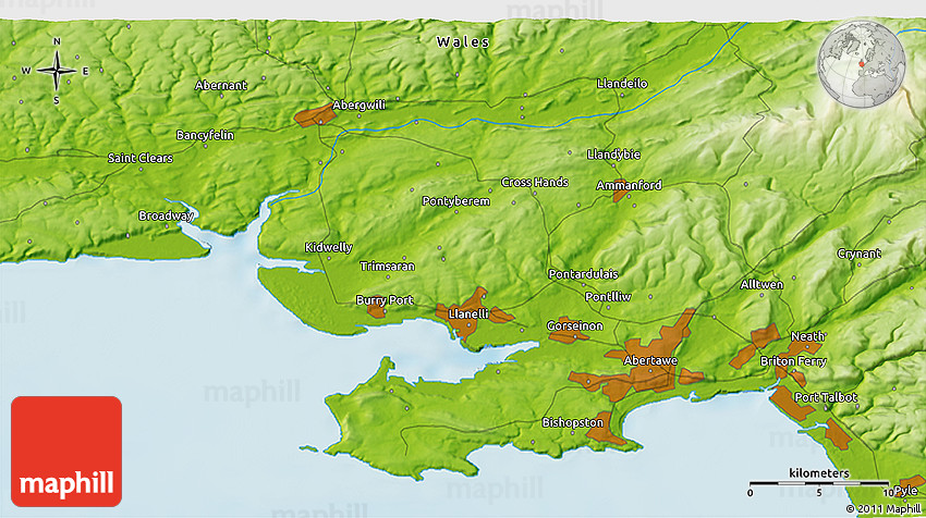 Llanelli United Kingdom  City pictures : Physical 3D Map of Llanelli