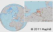 Gray Location Map of 's-Hertogenbosch, hill shading