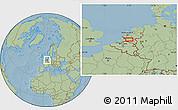 Savanna Style Location Map of 's-Hertogenbosch, hill shading