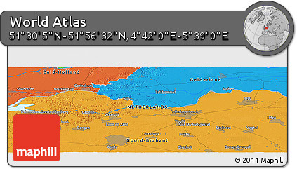 """Political Panoramic Map of the Area around 51°43'18""""N,5°10'30""""E"""