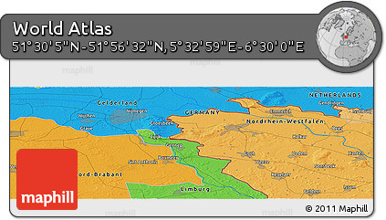 """Political Panoramic Map of the Area around 51°43'18""""N,6°1'30""""E"""