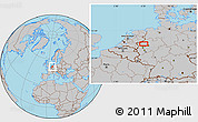 Gray Location Map of Dinslaken