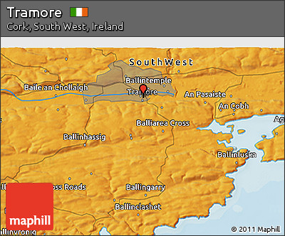 Political 3D Map of Tramore