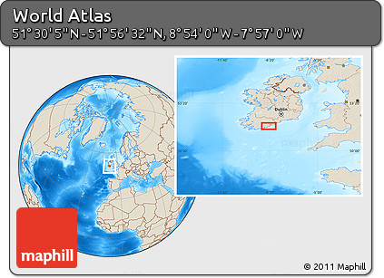 """Shaded Relief Location Map of the Area around 51°43'18""""N,8°25'30""""W"""