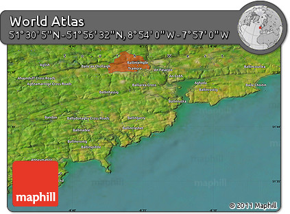 """Satellite Map of the Area around 51°43'18""""N,8°25'30""""W"""