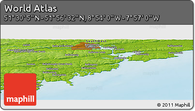 "Physical Panoramic Map of the Area around 51° 43' 18"" N, 8° 25' 30"" W"