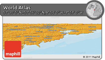 """Political Panoramic Map of the Area around 51°43'18""""N,8°25'30""""W"""