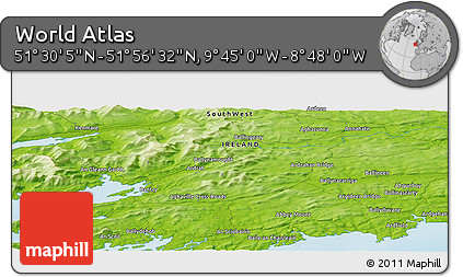 """Physical Panoramic Map of the Area around 51°43'18""""N,9°16'30""""W"""