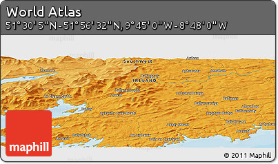 """Political Panoramic Map of the Area around 51°43'18""""N,9°16'30""""W"""