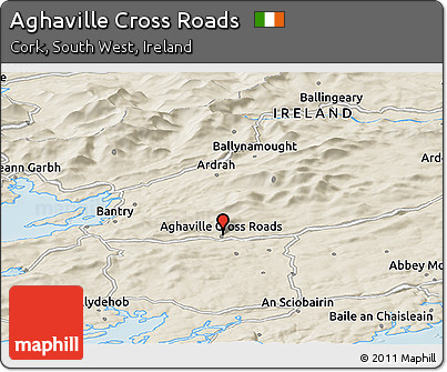 Shaded Relief Panoramic Map of Aghaville Cross Roads