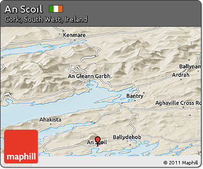 Shaded Relief Panoramic Map of An Scoil