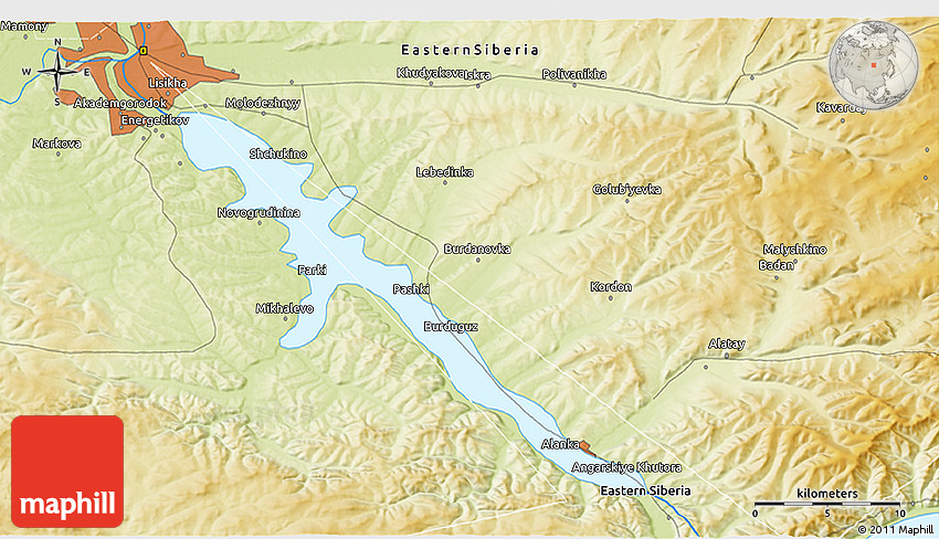 Physical 3D Map of Irkutsk