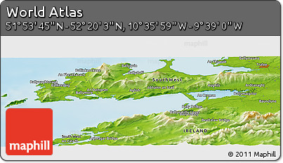 """Physical Panoramic Map of the Area around 52°6'54""""N,10°7'30""""W"""