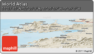 """Shaded Relief Panoramic Map of the Area around 52°6'54""""N,10°7'30""""W"""