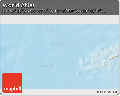 """Shaded Relief 3D Map of the Area around 52°6'54""""N,10°58'29""""W"""