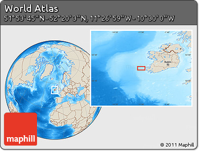 """Shaded Relief Location Map of the Area around 52°6'54""""N,10°58'29""""W"""