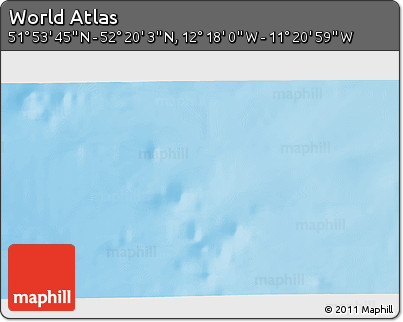 """Physical 3D Map of the Area around 52°6'54""""N,11°49'29""""W"""