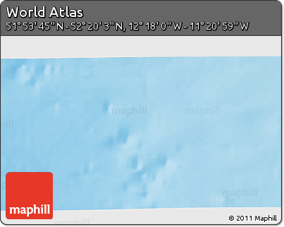 """Shaded Relief 3D Map of the Area around 52°6'54""""N,11°49'29""""W"""