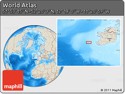 """Shaded Relief Location Map of the Area around 52°6'54""""N,11°49'29""""W"""