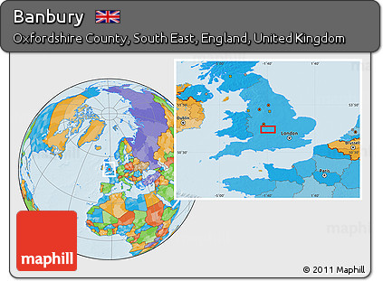Banbury England Map.Free Political Location Map Of Banbury