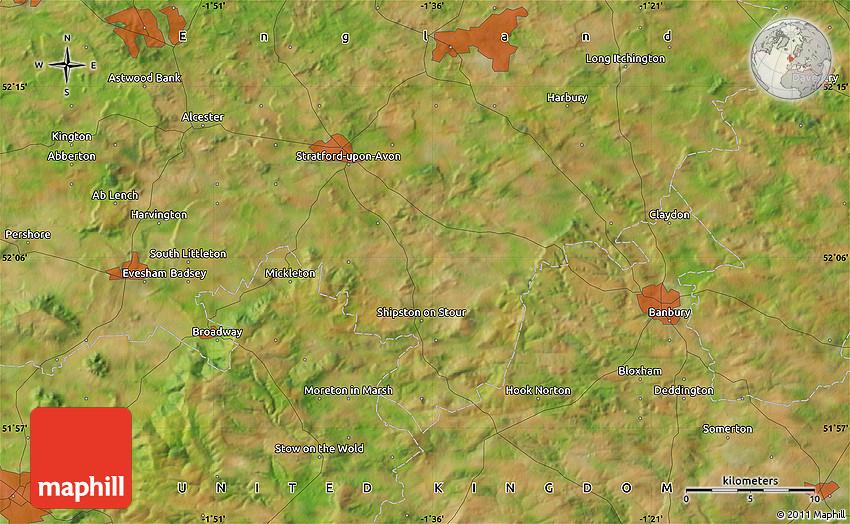 Satellite Map Of Stratford Upon Avon