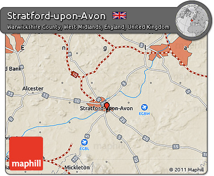 Stratford England Map.Free Shaded Relief Map Of Stratford Upon Avon