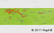"""Physical Panoramic Map of the area around 52°6'54""""N,21°19'30""""E"""