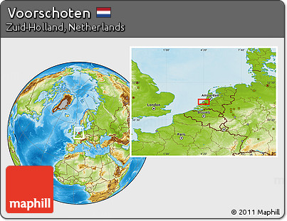 Free Physical Location Map of Voorschoten