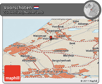 Free Shaded Relief Panoramic Map of Voorschoten