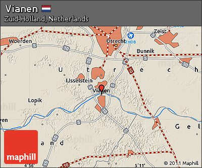 Free Shaded Relief Map of Vianen