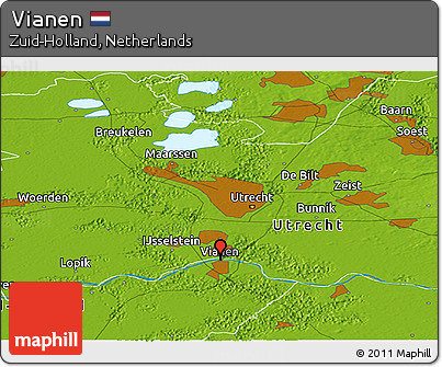Free Physical Panoramic Map of Vianen