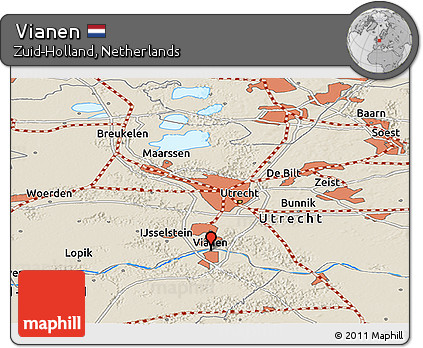 Free Shaded Relief Panoramic Map of Vianen