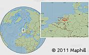Savanna Style Location Map of Arnhem, hill shading