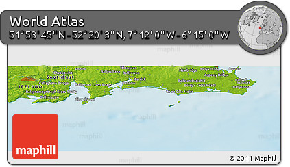"""Physical Panoramic Map of the Area around 52°6'54""""N,6°43'29""""W"""