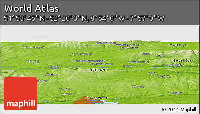 """Physical Panoramic Map of the Area around 52°6'54""""N,8°25'30""""W"""