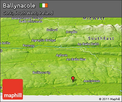 Physical Panoramic Map of Ballynacole