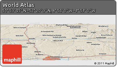 """Shaded Relief Panoramic Map of the Area around 52°6'54""""N,8°25'30""""W"""