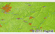 """Physical 3D Map of the area around 52°30'23""""N,0°46'30""""W"""