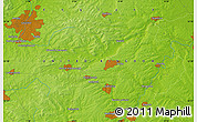 """Physical Map of the area around 52°30'23""""N,0°46'30""""W"""
